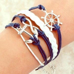 Jewelry - 🆕 Anchor Leather Charm Bracelet NWOT